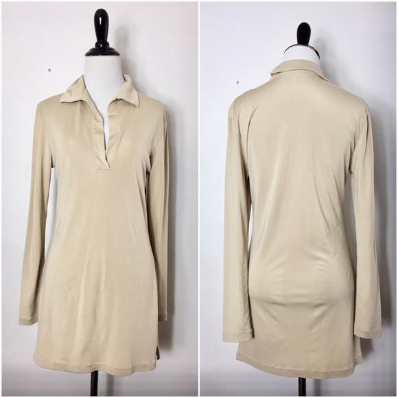 Equipment Tops - Equipment Long Sleeve Beige 100% Silk T-Shirt